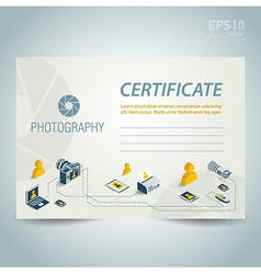 photography certificate design photo camera vector image vector image