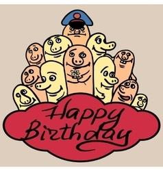 PrintGreeting card happy birthday Small funny vector image