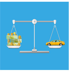 scales with car and money coins cash vector image vector image