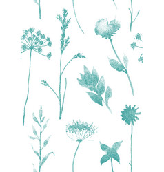 Seamless pattern with dry flowers and grass hand vector