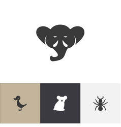 set of 4 editable zoology icons includes symbols vector image vector image