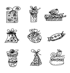 Sketch gift boxes on white background vector image vector image