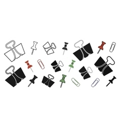 Stationery office paper pins and clips set vector image