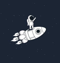sweet astronaut stays on rocket vector image