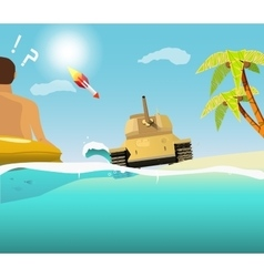 The sudden intrusion of tank on the beach vector