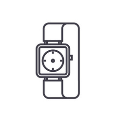 watch wrist line icon sign vector image