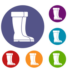 Winter shoes icons set vector