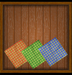 Wooden frame with boards serviette vector