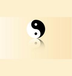 yin yang symbol with reflection vector image vector image