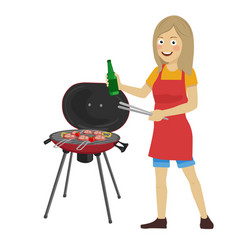 Young woman cooking barbecue grill vector