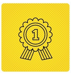 Gold medal award icon first place sign vector