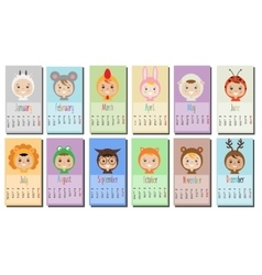 Year calendar with kids in party outfit children vector