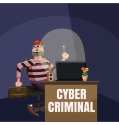 Computer criminal spy concept cartoon style vector