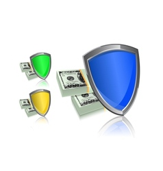 shield and money icon set - security protection vector image