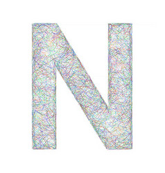 Colorful sketch font design - letter N vector image