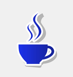 Cup of coffee sign  new year bluish icon vector