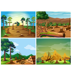 Four scenes of deforestation and wild fire vector
