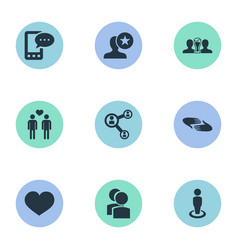 Set of simple buddies icons vector