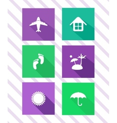 Set of flat travel icons vector