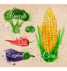 Watercolor vegetables corn kraft vector