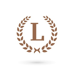 Letter l laurel wreath logo icon vector