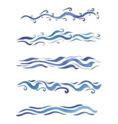 Beautiful watercolor swirls different styles vector