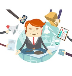 Office man meditating in the middle of busy vector image