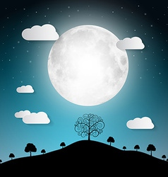 Full moon with clouds and trees on hill vector