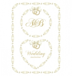 Wedding ribbon frame vector