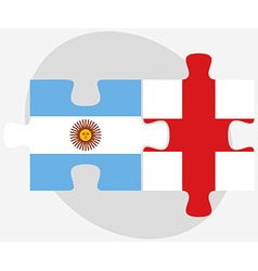 Argentina and england flags in puzzle vector
