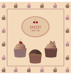 Card with cupcakes vector
