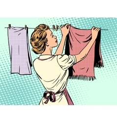 Woman hangs clothes after washing housewife vector