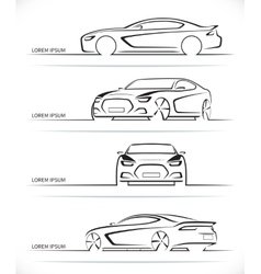 Set of sports car silhouettes vector
