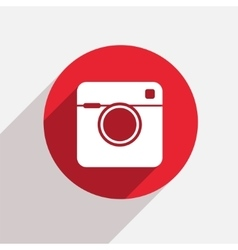 Modern camera red circle icon vector