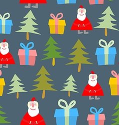 Santa Claus gift and Christmas tree Christmas vector image