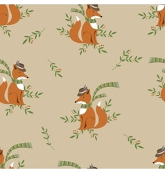 Funny foxy pattern vector