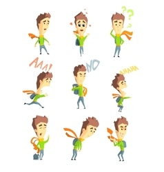 Men emotions set in flat vector