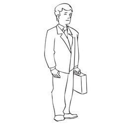 Man with suitcase line art small vector