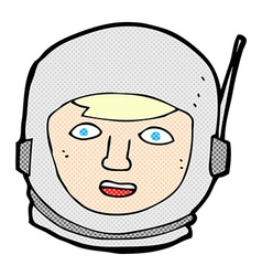 Comic cartoon astronaut head vector