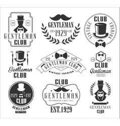 Vintage gentlemen club logos set vector