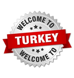 Turkey 3d silver badge with red ribbon vector