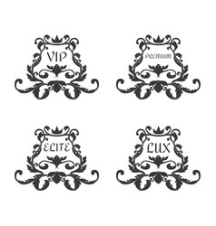 A set of four ornaments in the victorian style vector