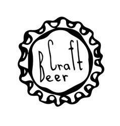 Beer bottle cap doodle style sketch vector