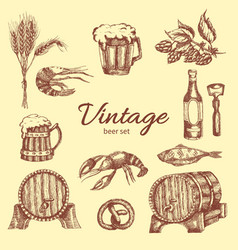 Beer vintage monochrome set vector