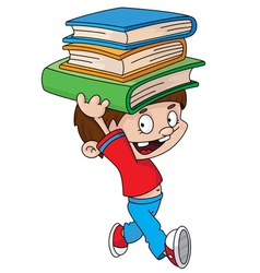 boy with books vector image vector image