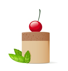 Cake decorated with cherry and mint leaves vector image