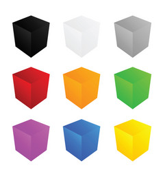 cube in color set art vector image