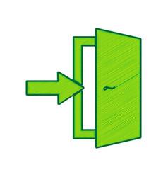 Door exit sign lemon scribble icon on vector