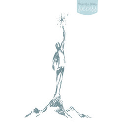 drawn sketch perso reaching star leadership vector image