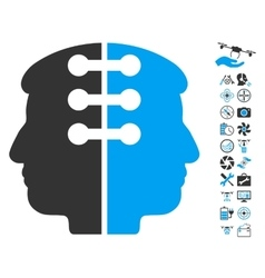 Dual head interface icon with air drone tools vector